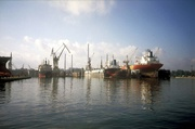 Blick auf eine Werft